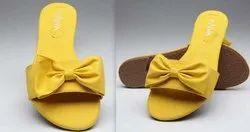 Plain Faux Leather Mustard Flats, Size: 7
