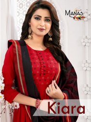 Kiara Manas-Tc Maya Slub With Foil Print Kurti With Banarasi Dupatta For Party Wear Collection