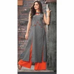 Cotton Fancy Ladies Palazzo Suit, Size: S-XL