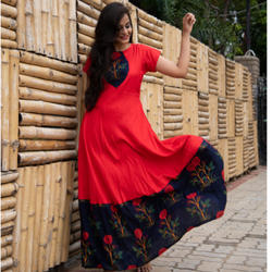 HVM Party Wear Ladies Red Long Gown Dress