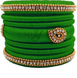 Green Silk Thread Bangles Set