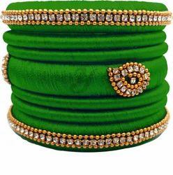 Green Silk Thread Bangles Set
