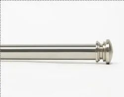 36-66 Inch Basics End Cap  Satin Silver Extendable Curtain Rod