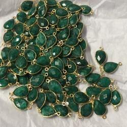Green Emerald Color Gemstone Connector Gold Plated