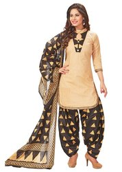 Skin, Black Unstitched Ladies Cotton Salwar Suit, Machine wash