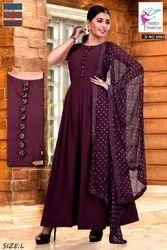 Georgette Stitched Fancy Anarkali Suit, Machine Wash