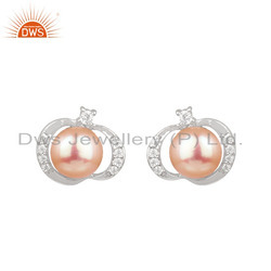 Zircon Pink Pearl White Rhodium Plated Silver Designer Stud Earrings