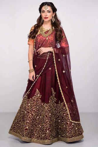 4c3ef1050d Designer Wedding Wear Pure Silk Heavy Bridal Lehenga, Bridal ...