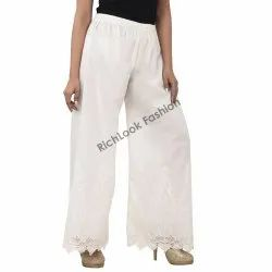 Ladies Cotton Chikan White Color Palazzo