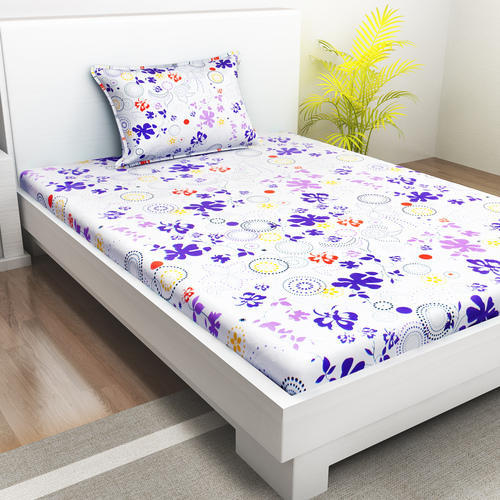 da25b03dc9 White And Purple Indiana Home 100% Cotton 1 Single Bed Sheet With 1 Pillow  Cover