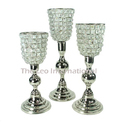 Crystal Bead Hurricane Candle Holder Set of 3