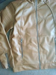 Full Sleeve Casual Wear Men Brown Leather Jacket