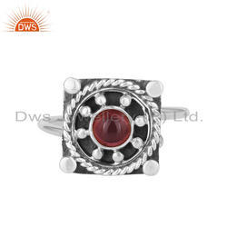 Natural Garnet Vintage Design Sterling Silver Oxidized Ring For Women