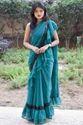 Rajkumari Bottle Green Ruffled Saree For Women