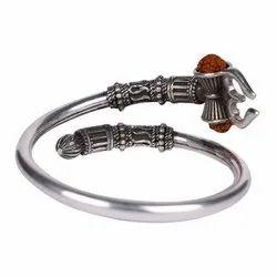 Silver Brass Shiva Trishul Rudraksha Damroo Kada for Men and Boys