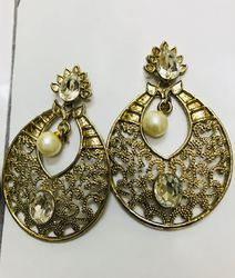 Cut Work Designer Stone Earrings