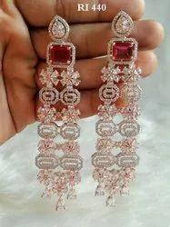 RI Beautiful Party Wear American Diamond Earrings