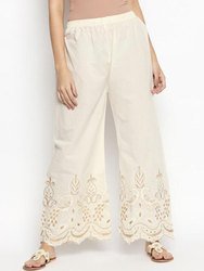 Ladies Cotton Chikan Embroidery Palazzo Pants For Ladies