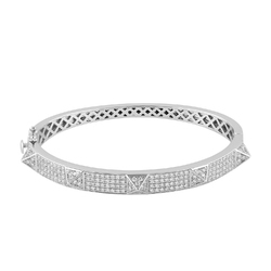 14kt White Gold and Diamond Studded Bangle