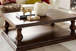 Soni Art Exports Brown Color Mevik Carved Coffee Table 47x26x18 inch for Home
