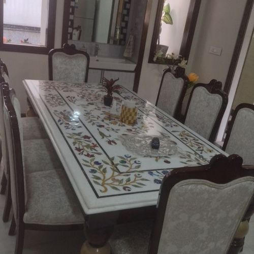 New White Marble Inlay Dining Table Top at Rs 5850 /piece | Marble  DI89