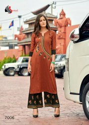 3/4th Sleeve Casual Wear Sawan Dani V-7 Embroidery Long Kurti With Palazzo