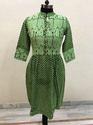 Lavanya Green Base Pintex Tunic- Reverse Heart Print