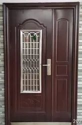 Brown Powder Coated Steel Safety Door, For Home, Thickness: 70MM