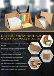 Eco Cube Sticky Notepad With Stationery Holder - Giftana
