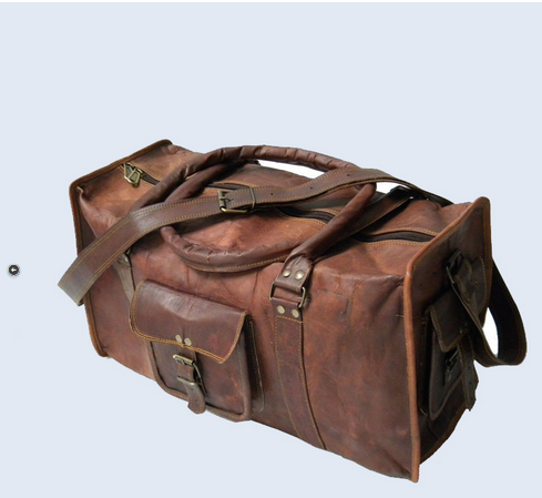 1bdd7f0393f4 Shakun Leather Brown Travel Luggage Cabin Duffel Large Gym Shoulder ...