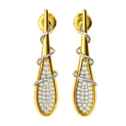 Artificial Diamonds Round Real Diamond Earring, 14 Kt
