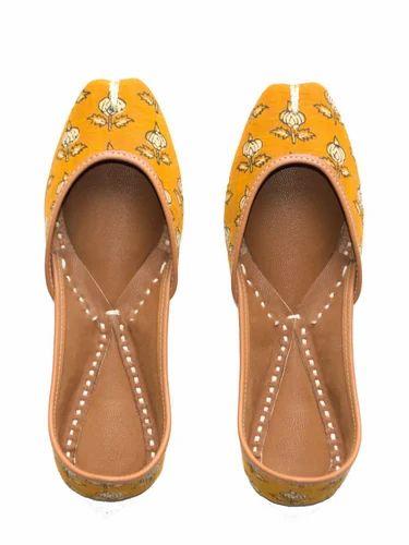 074ceda610 Mustard Printed Juttis, Khussa Shoes, जूती - Jivaana, Bengaluru ...