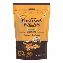 Makhanawalas Roasted Makhana (foxnuts) Gorgon Nut Water Lily Pops Cream Onion 80 G Each.
