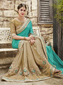 Sky Blue Satin Chiffon Saree