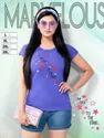 Casual Wear Half Sleeve Ladies Purple Round Neck Printed T-shirt