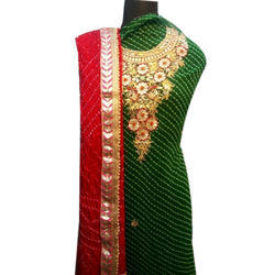 Green And Red Party Wear Ladies Embroidered Suit