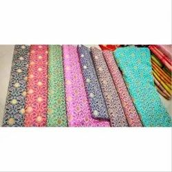 Embroidered Party Wear Semi Silk Fabric, Gsm: 150-200