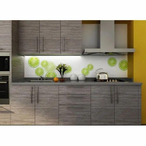 Wooden Laminated Texture Modular Kitchen, Kitchen Cabinets ...