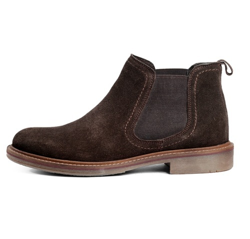 Men's Brown Leather Suede Chelsea Ankle