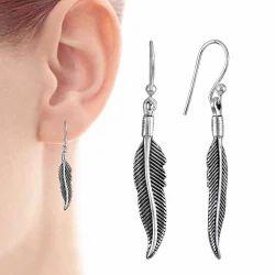 Stunning Rich 925 Sterling Silver Leaf Earrings