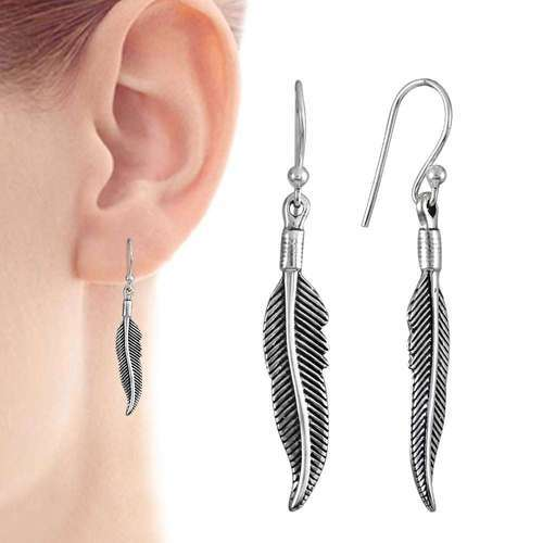 Pearl India International Stunning Rich 925 Sterling Silver Leaf Earrings Size 4 7 X