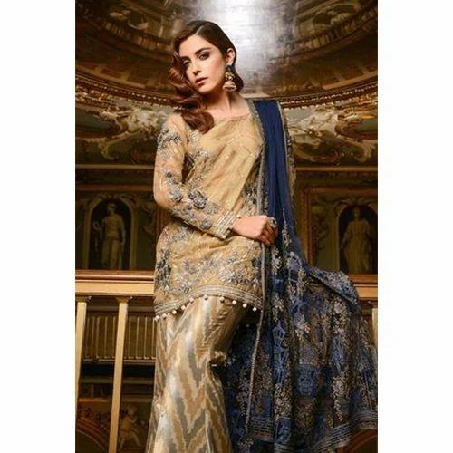 c73aecf340 Ladies Full Sleeves Embroidered Pakistani Suit, Rs 9725 /piece | ID ...