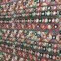 Mirror Work Embroidery Allover Saree Fabric