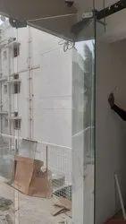 Silver Glass Sliding Folding Door, For Office