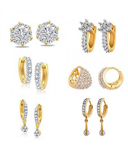 Jewels Galaxy Gold Plated Stud Earrings For Women White Jg Ergyou 9000