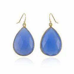 Blue Chalcedony Gold Vermeil Bezel Set Earrings