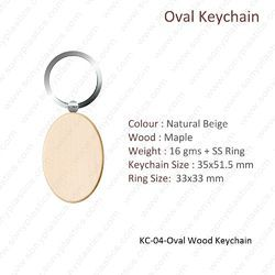 Wooden KeyChain-KC-04-OVAL-WOOD