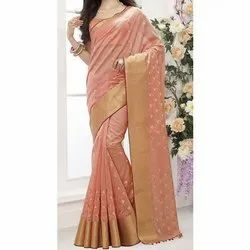 Party Wear Uniqkart Fancy Embroidered Silk Saree, 6.3 m (with blouse piece)