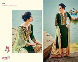 Green Color Cotton Satin Suit