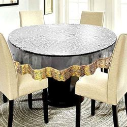 4 Seater Waterproof 72 Round Table Cover with Golden Lace or Silver Lace